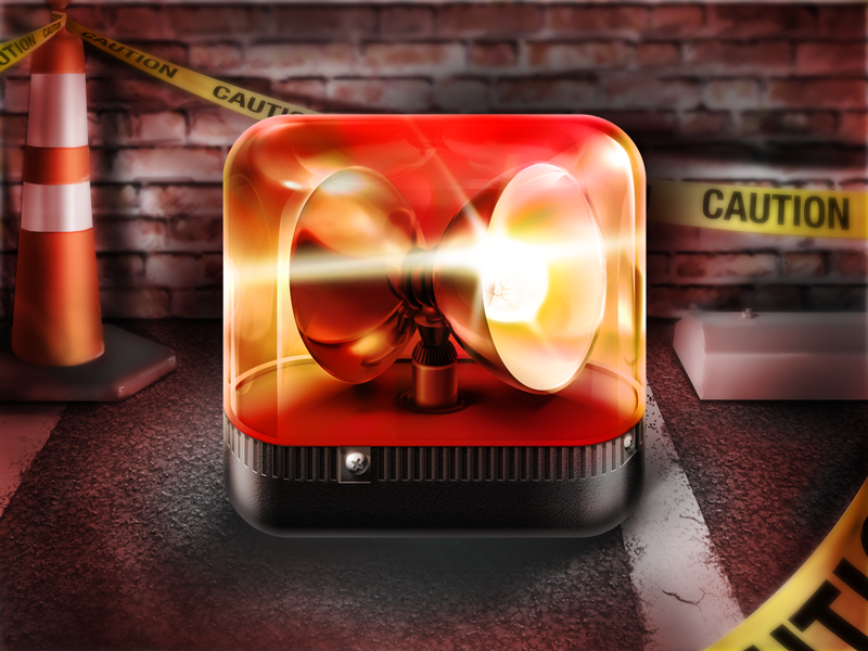 Red Alert alert light icon ios photoshop