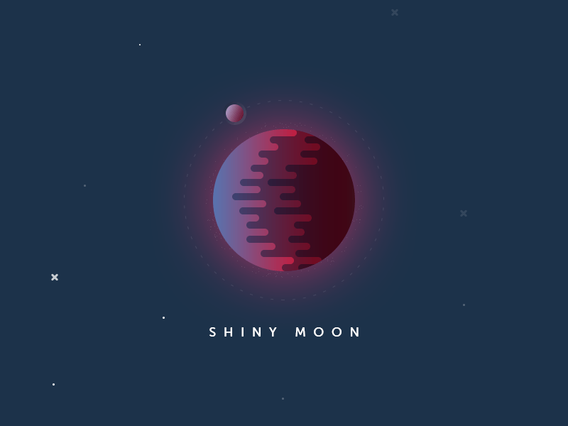 Shiny Moon stars planet space moon