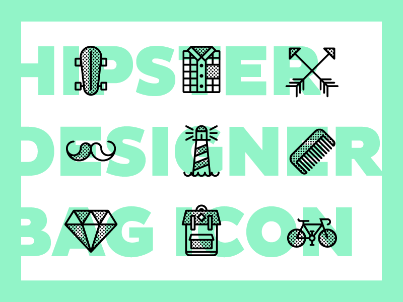 DESIGNER BAG - Free Icon skate mustache backpack bike moodboard branding calligraphy hipster icon free