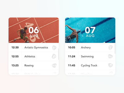 Olympic Calendar Cards elements ux ui cards rio 2016 games olympic events calendar