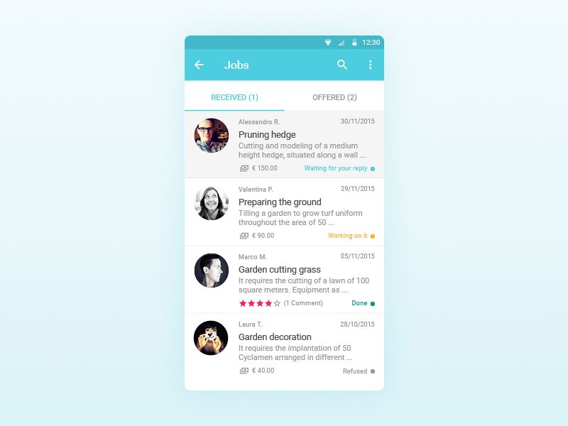 Jobba - Jobs view material design gardening status profile interface ux ui jobs app jobba