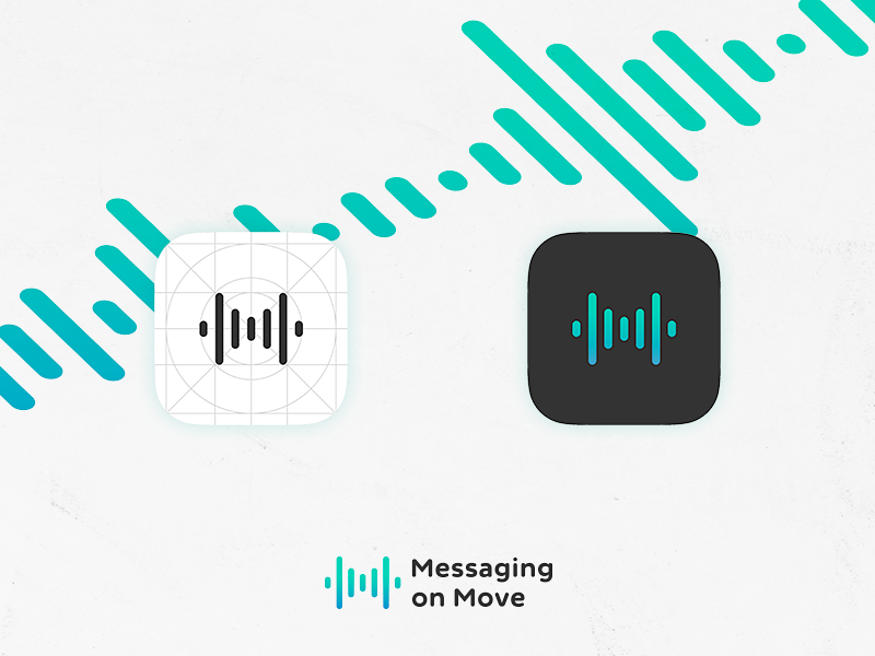 Messaging on Move - App Icon type logo branding grid icon ios voice messaging app