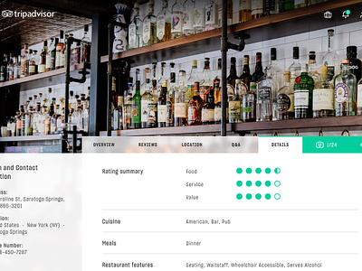 Tripadvisor Redesign Concept web design ux ui tripadvisor trip tab redesign layout interaction food concept animation