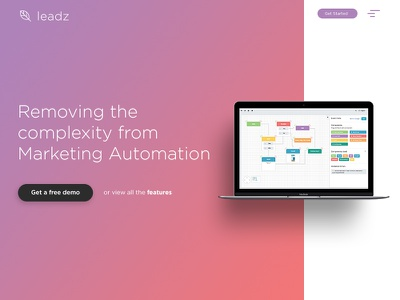Leadz Landing Page clean simple app conversion gradient design digital web website webpage landing page dailyui