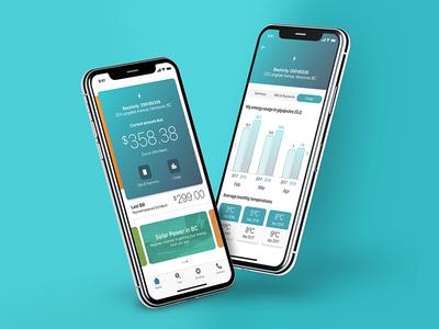 Energy Utility App dashboard product sketch iphone digital design mobile clean app ux ui ios