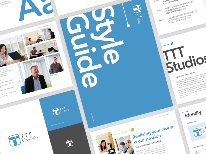 TTT Studios style guide type style guide guidelines blue brand identity clean minimal branding logo design typography