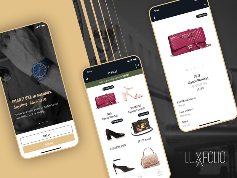 Blockchain iOS App Design: LUXXFOLIO product design interface mobile ios blockchain design digital minimal clean app ui ux