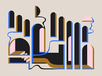 Digital Medley: Breakers Dawn & Dusk geometry illusion stairs arches arch modern minimal melt fluid illustration digital art dali escher dream abstract shape die cut eastern architecture