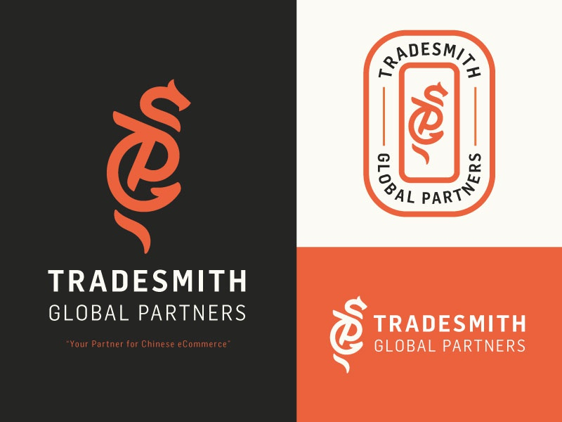 Tradesmith Branding simple ecommerce red logo icon dragon branding