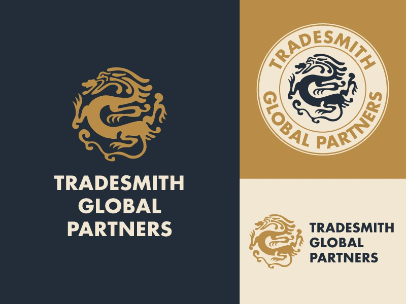 Tradesmith Branding Variation 1 branding stamp silhouette outline dragon gold logo
