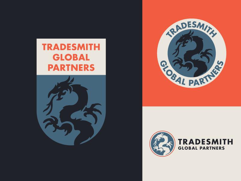 Tradesmith Branding Variation 2 branding stamp silhouette outline dragon emblem red logo