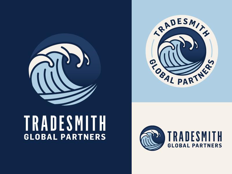 Tradesmith Branding Variation 3 branding stamp silhouette line art outline waves wave blue logo
