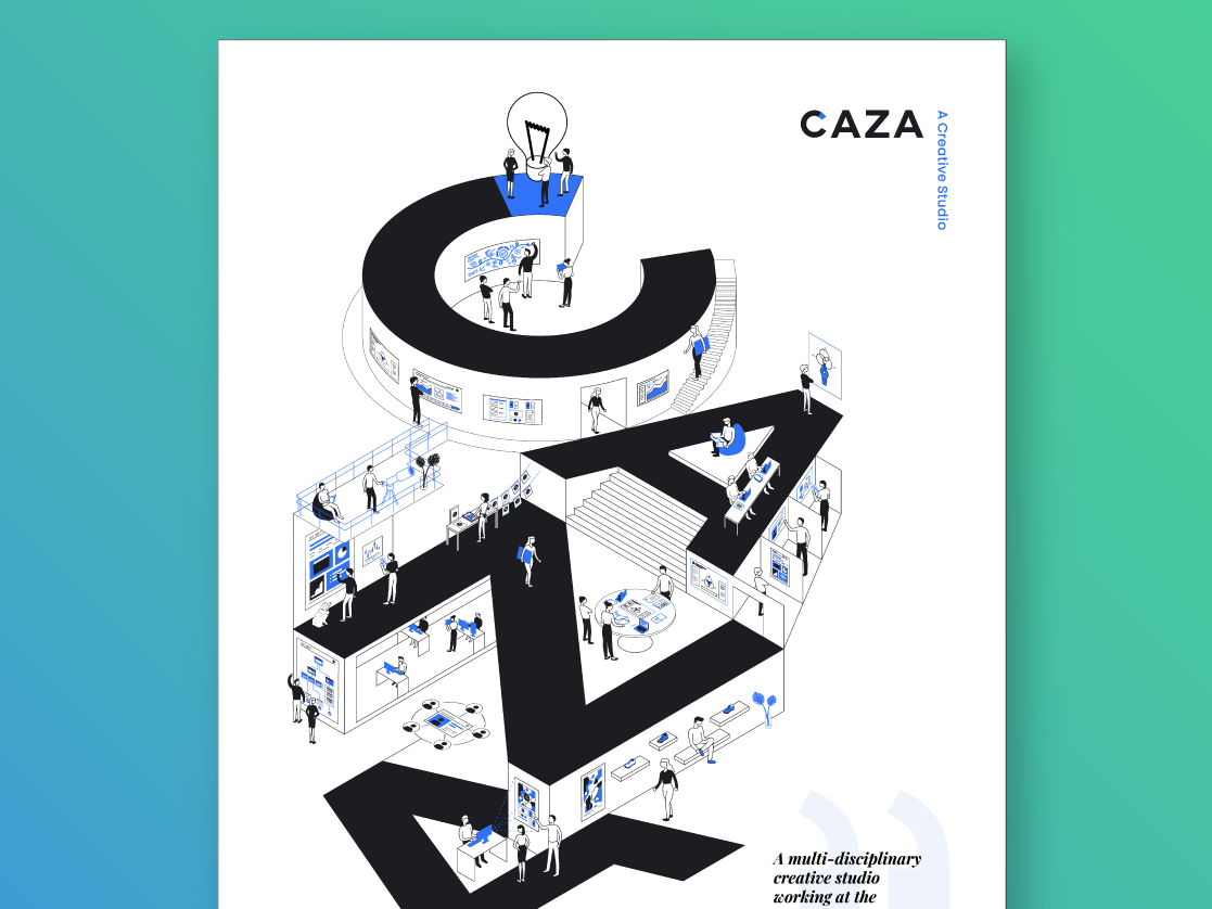 Caza Services Poster environment studio office abstract infographic branding illustration line art