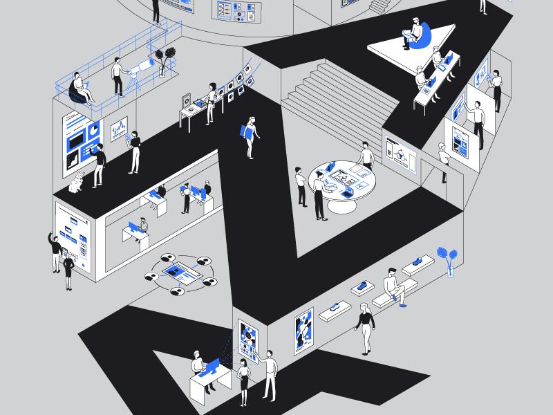 Caza Poster environment office studio vector abstract branding illustration line art