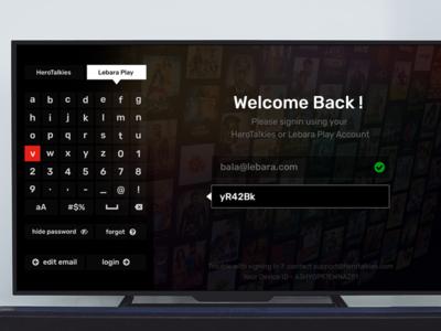 Login Screen for TV