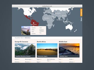 Travel Destinations webdesign travel website globe destinations tooltip menu map