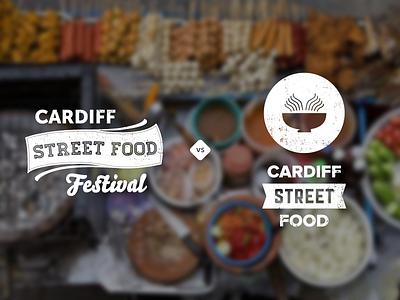Cardiff Street Food Festival - Final options cardiff food festival logo branding rough script noodles wales uk
