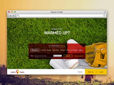 Sports Finder  sport web website webdesign haum kyanos cardiff wales design identity