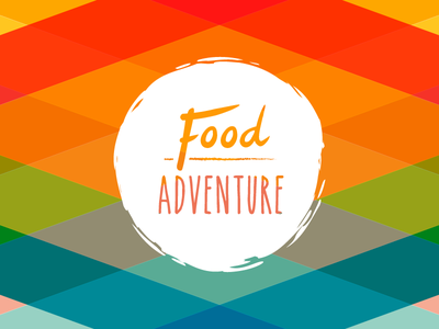 The adventure is almost there brand logo branding food adventure colourful handmade rough