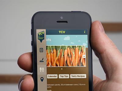 Gardening App Concept gardening app iphone ios brown blue environment advice tips design ux interface side menu slide