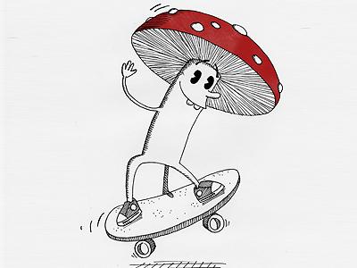 The Skating Mushroom mushroom skateboard skating red white