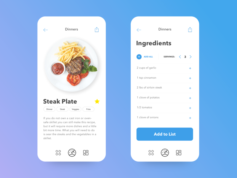 Citris App ingredients steak food dinner ux ui