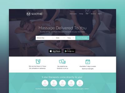 Soothe Landing Page soothe massage booking landingpage website design