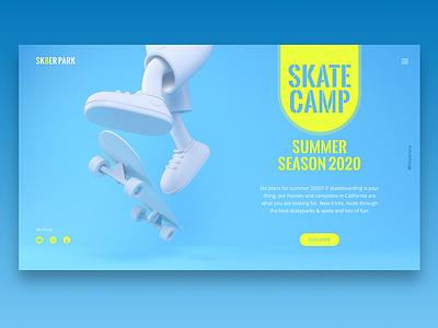 SK8 CAMP skateboard character web landing design clean webdesign 3d ui