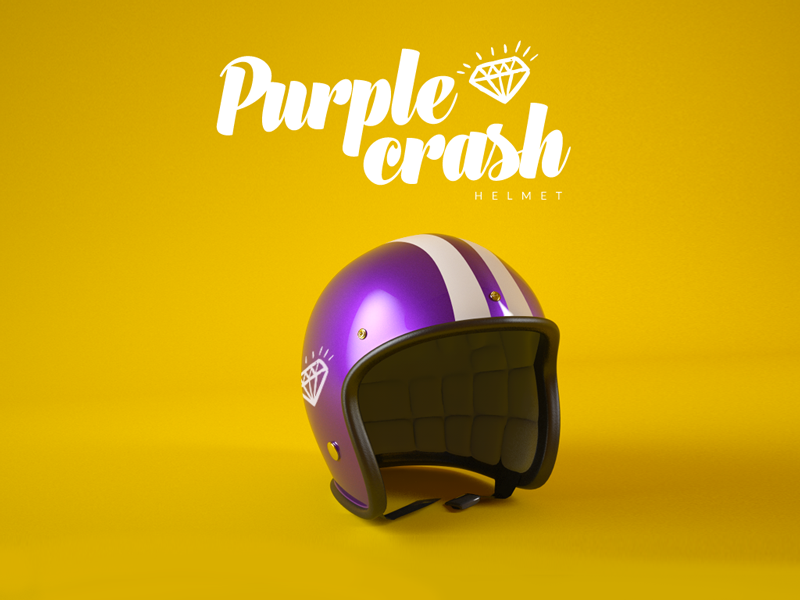 Purple Crash - Helmet helmet purple 3ddesign vray 3d