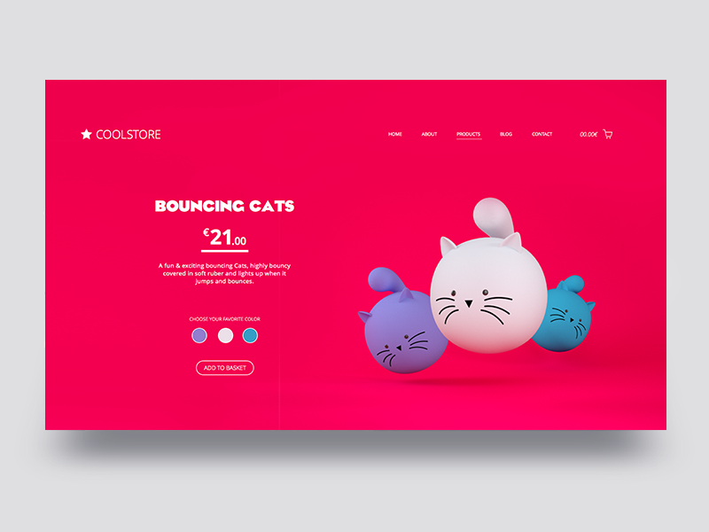 Bouncing Cats UI 3d layout minimal clean webdesign cats ux ui