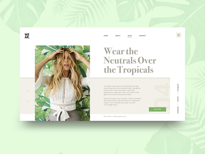 Leaves Fashion Blog UI Concept webdesign ux photography model landing fashion web design color ui