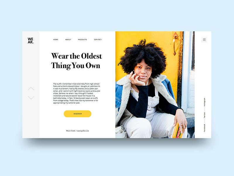 Old Fashion webdesign web ux ui photography model landing fashion design color