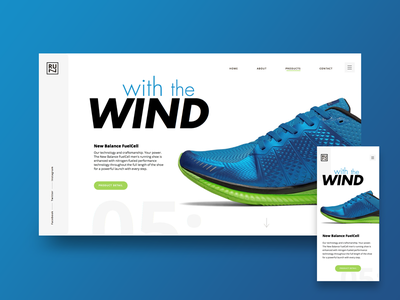 Running Shoes Store photography landing design color blue product clean webdesign