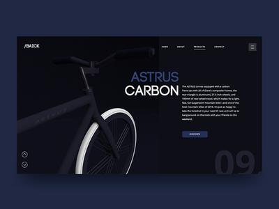 Astrus Carbon. UI Concept bike modeling 3d dark ui webdesign