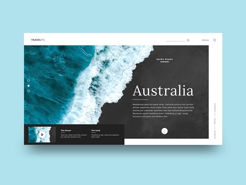 Travelpic - Australia. User Interface. ocean australia design ux clean webdesign ui