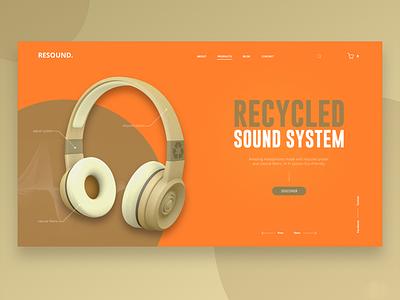 Resound. Desktop view landing design ux webdesign ui 3d