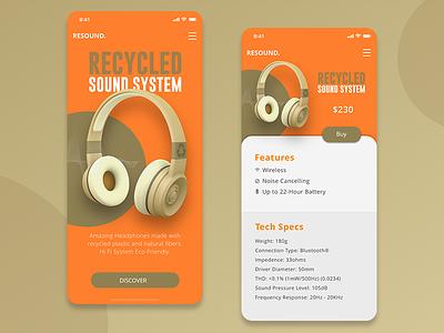 Resound. Mobile view mobile web landing design ux webdesign ui 3d