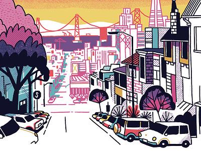 SF Broadway Street ink editorial tree view usa california bright colors brige cars city illustration sketch urban city san francisco