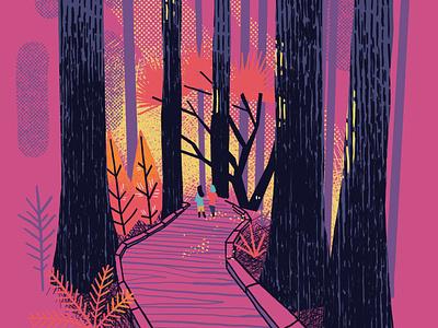 Muir Woods - California editorial walk usa california digitalart illustration digital minimal sketch edtitorial illustration tree forrest