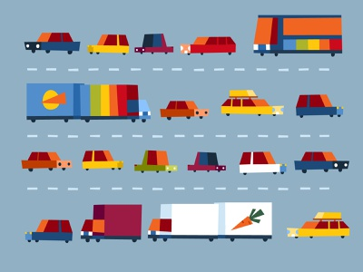 PJP - Traffic childrensbook flat carrot cartoon traffic highway rainbow colors children vector illustration car