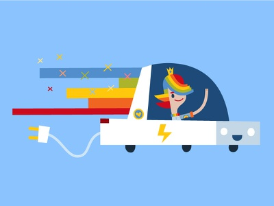 PJP electric car cartoon rainbow ecology electric car electric car flat character colors childrensbook vector illustration