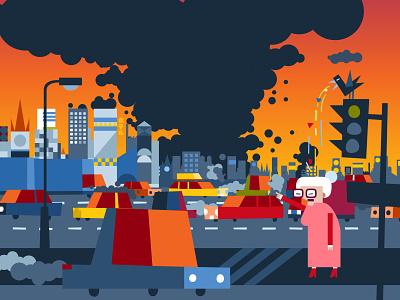 PJP street traffic light pollution ecology cartoon urban traffic character childrensbook vector illustration