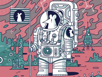 Of Mice and Astronauts II spaceship rocket space art flag mouse cartoon painting digital ink space astronaut colors illustration