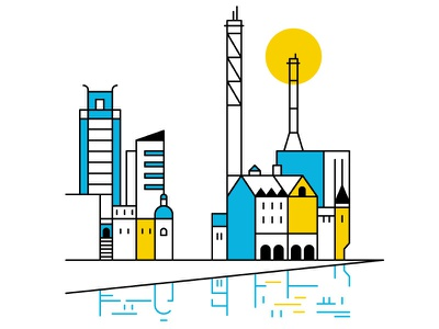 Goteborg vector line sun architecture minimal blue and yellow blue sweden illustration