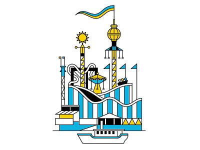 Stockholm line minimal stockholm sweden blue and yellow blue vector illustration