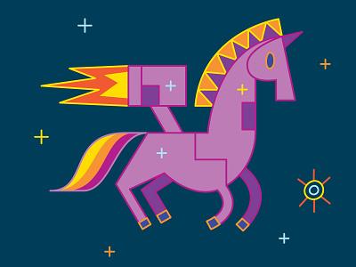 Rocket horse space design vector astronaut character fairytale colors surreal childrensbook illustration