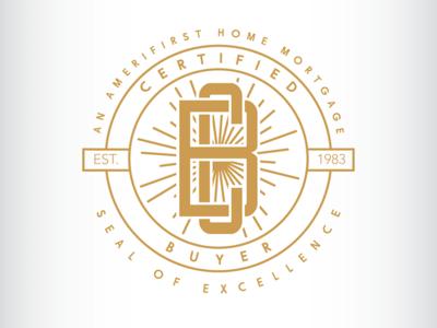 Certified Buyer retro logo design design logo seal seal logo monogram gold sunburst vintage logo illustration