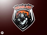"""DREAMLAND"" mascot logo design"