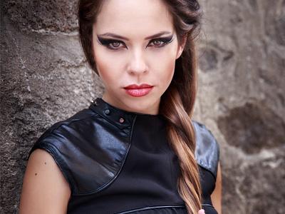 The Bulgarian Actress Borqna Bratoeva strong portrait actress strong but gentle pretty model makeup hair girl face eyes black beautiful