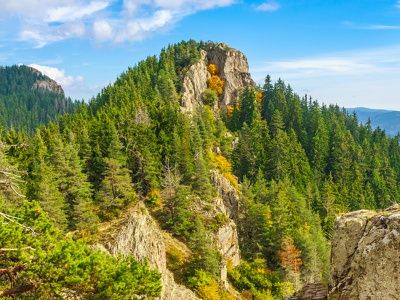 Rhodope Mountain View sky green forest clouds blue autumn trees rhodopi nature mountains landscape